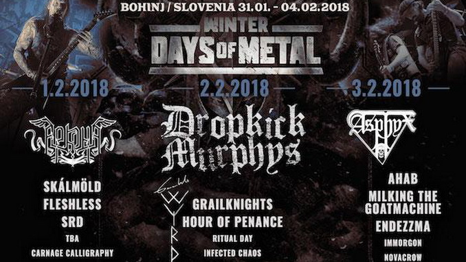 Nastopajoči na Winter Days of Metal 2018 po dnevih.